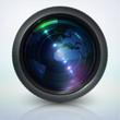 camera lens with globe