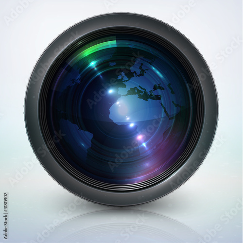 camera lens with globe