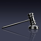 Judge gavel on blue background with clipping path.