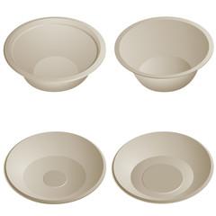 Porcelain plate set isolated on white