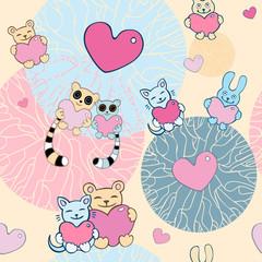 Lovely cartoon seamless background. Lemurs, cats, bunnies.