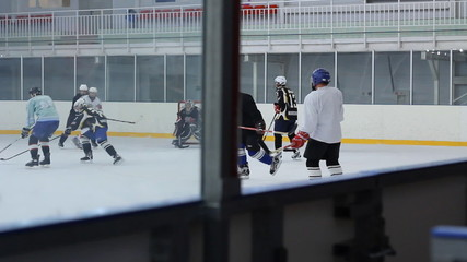 Hockey game in bush-league