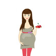 pregnant woman holding a saucer with berries