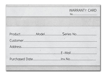 instant warranty card on gray paper