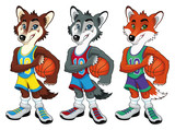 Basketball mascots. Vector isolated characters
