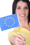 woman holding an European flag