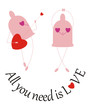 """Funny  condom's sing: """"All you need is love"""""""