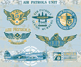 Aviation vintage vector badges