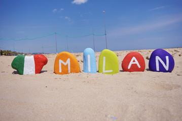 Milan, Italy, souvenir on colourful stones