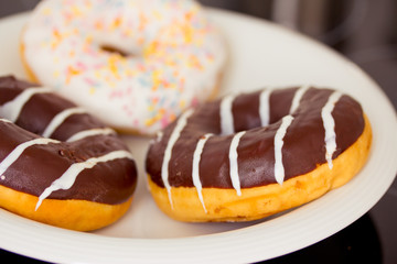 close-up shot of delicious doughnuts