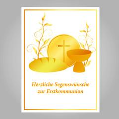 karte zur erstkommunion, golden