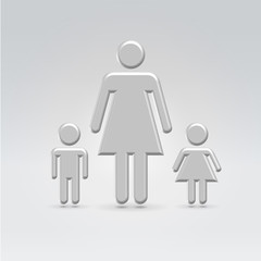 Silver metallic Mom and two children croup hanging in space