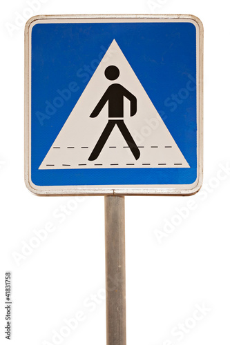 Blue Pedestrian Cross Sign on White Background