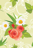 Ornamental background with roses and daffodils