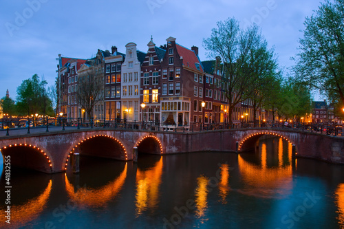 canals of Amsterdam, the Netherlands at dusk