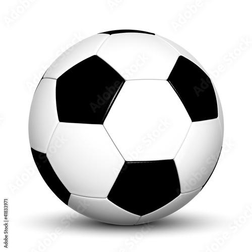 Klassischer Fußball, schwarz, weiß, 3D, Ball, Spielball, Soccer