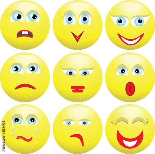Nine varied expressions of persons. Smilies.