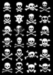 Skulls & Corssbones Vector Collection in Black Background