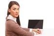 Portrait of beautiful businesswoman with a laptop