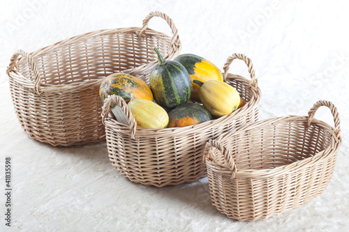 Vegetable basket with pumpkins