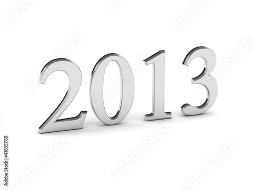 Year 2013 in silver numbers isolated on white