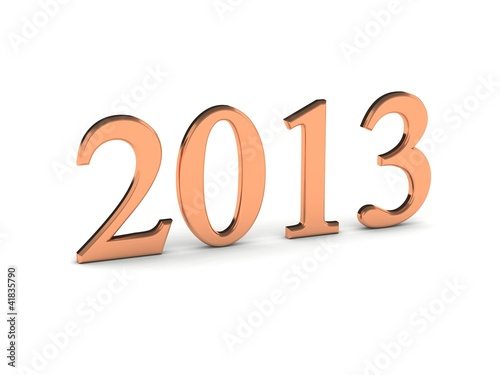 Year 2013 in copper numbers isolated on white