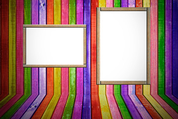 Colorful empty wood advertisement