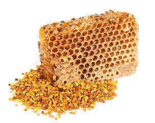 honey honeycombs and pollen