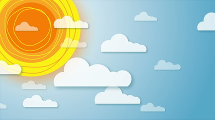 Animation of sky with rotating sun and moving clouds.