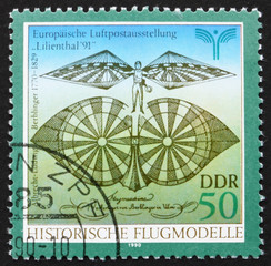 Postage stamp GDR 1990 Flying Machine by Albrecht Berblinger