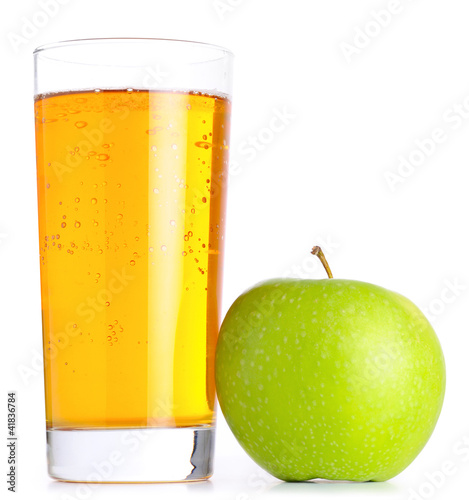 glass of apple juice and green apples isolated on white