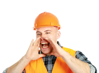 A young worker shouting, isolated on white background