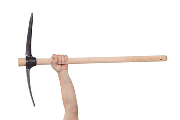 A hand holding a pickaxe