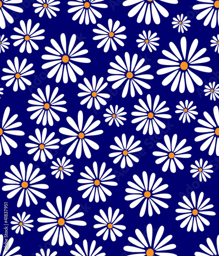 Doris Day Flowers on Lapis Seamless Tile
