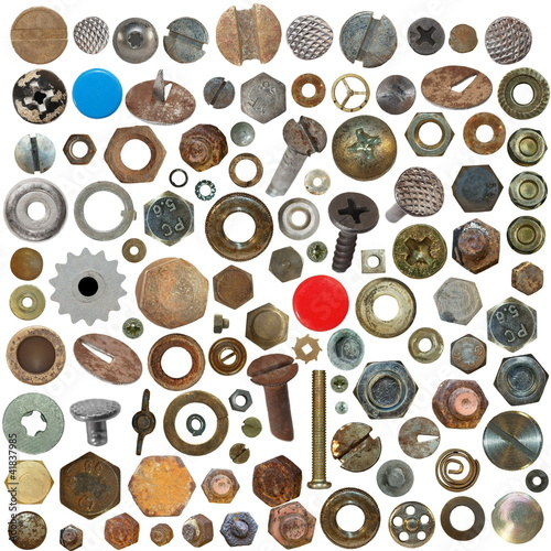 Big collection old rusty Screw heads, bolts, steel nuts