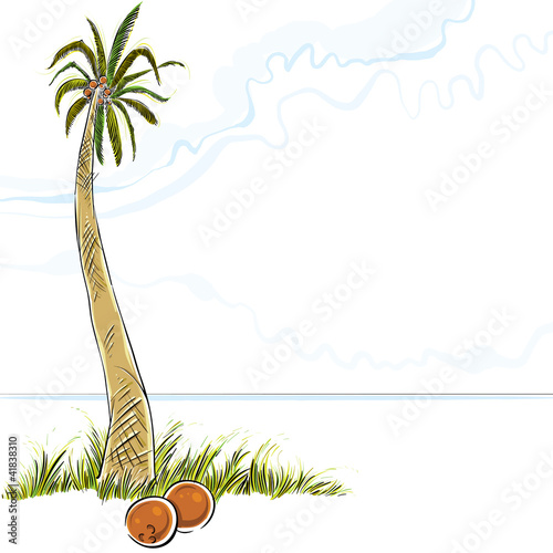 Illustration of palm tree in island, vector.