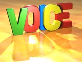 Word Voice on yellow background poster