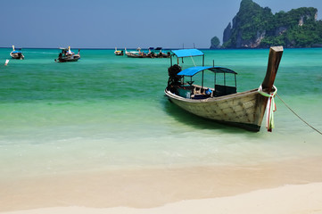 Boat on the beach,Loh Dalam Bay,