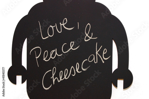 love, peace and cheesecake