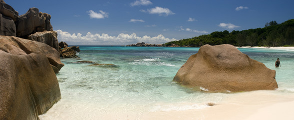 Granite's rocks on the beach, Seychelles