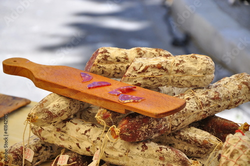 Keuken foto achterwand Boodschappen Saucisson artisanal