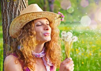 Mädchen mit Pusteblumen / dandelion-12