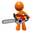 3d Orange Man With Chain Saw