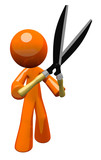 3d Orange Man Holding Hedge Trimmers