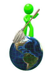 3d Green man mopping the globe 3d