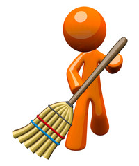 3d Orange Man Sweeping with Broom