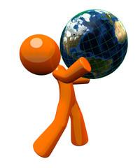 3d Orange Man Carrying Globe