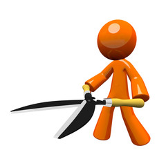 3d Orange Man Hedge Clippers / Trimmers Concept, Perspective Vie
