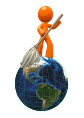 3d Orange ManMopping Globe / Earth