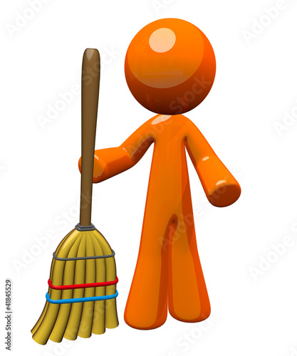 3d Orange Man Holding Broom Standing Up